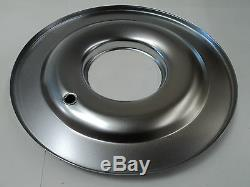 14 X 4 Round Chrome Black Washable Air Cleaner Flat Base Ford Chevy SBC 350