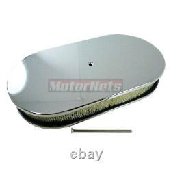15 Chrome Smooth Oval Aluminum Air Cleaner 4BBL Street Hot Rod SBC BBC 350454GM