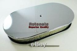 15 Oval Chrome Aluminum Air Cleaner Smooth Chevy Ford Mopar SBC BBC 350 454 Rod