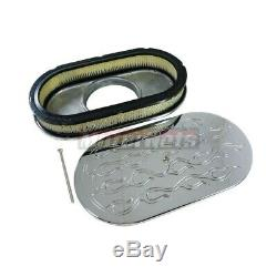 15 Oval Chrome Flame Aluminum Air Cleaner Filter Breather Chevy Ford SBC Mopar