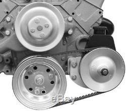 1955-1957 Small Block Chevy Chrome Power Steering Pump + Steel Bracket SWP 404L