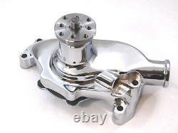 1955-86 SB Chevy Water Pump Short SBC 283 327 350 V8 High Volume Aluminum CHROME