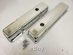 1958 1986 Small Block Chevy Short 2-5/8 Chrome Valve Covers 58-86 SBC 283 350