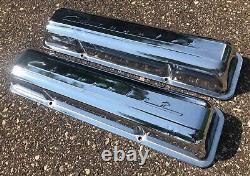 1969 Chrome Script Chevrolet Sbc Valve Covers Camaro Z28 302 Chevelle Nova