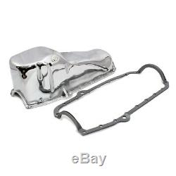 58-79 SBC Chrome Stock Capacity Oil Pan 327 350 400 Small Block Chevy With Gasket