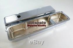 58-86 Chrome Aluminum SBC Small Block Chevy Valve Cover Ball Mill Short 350 400
