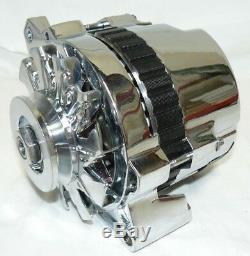 71-86 GM Chrome 110 AMP 10SI 1 ONE WIRE ALTERNATOR With BILLET BRACKET SBC LWP