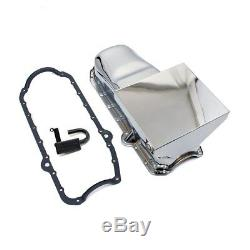 80-85 SBC Chevy Chrome Drag Race Style Oil Pan 7qt 305 350 With STD. Pickup Gasket