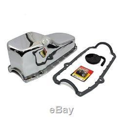 80-85 Small Block Chevy SBC 350 Oil Pan Chrome Finish / STD. Pickup Studs Gasket