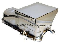 86-02 Chevy 305 350 Chrome 7qt Drag Style Oil Pan 1 Pc Rear Main Seal SBC
