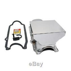 86-02 Chevy 350 Chrome 7qt Drag Style Oil Pan 1 Pc SBC STD. Pickup Bolts Gasket