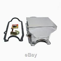 86-02 Chevy 350 Chrome 7qt Drag Style Oil Pan 1 Pc SBC STD. Pickup Studs Gasket