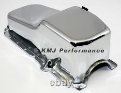 86-02 SBC Chevy Chrome Oil Pan Stock Capacity 305 350 Vortec 1 pc Rear Main