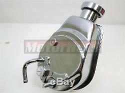 BBC SBC Chevy Chrome Saginaw Style Power Steering Pump with Single Groove Pulley