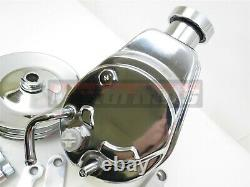 BBC SBC Chevy Chrome Saginaw Tear Drop Power Steering Pump 2 dual Groove Hot Rod