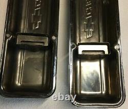 CHEVROLET LOGO Chrome Valve Covers SMALL BLOCK Vintage BOWTIE Short Pair