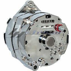 CHROME HIGH AMP ALTERNATOR GM BBC SBC CHEVY GMC CADI OLDS PONTIAC 12 o'clk 160A