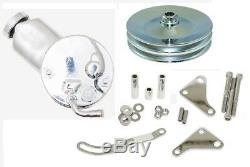 CHROME Power Steering Pump Dual Belt Pulley Bracket Chevy Saginaw P Pump 327 350