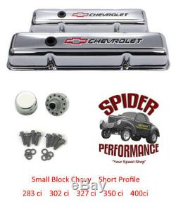 Chevy 283 327 305 350 400 small block short valve cover kit BOWTIE CHROME STEEL