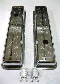 Chevy Chromed Aluminum Flame Short Valve Covers SBC V8 283 327 350 Show Time