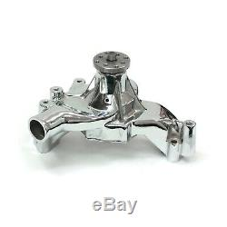 Chevy SBC 350 High Volume Aluminum Long Water Pump Chrome