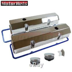 Chevy SBC Tall Chrome Aluminum Fabricated Valve Cover Kit + Gasket 283-350 59-86