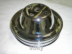 Chrome 1969-85 Chevy Double Groove Crankshaft & Water Pump Pulley Set SBC LWP