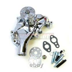 Chrome Aluminum Small Block Chevy Long Water Pump LWP SBC High Volume Mechanical