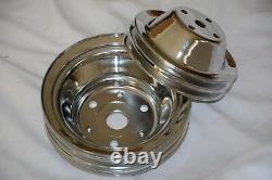 Chrome Chevy 2 & 3 Groove Water Pump + Crankshaft Pulleys SBC LWP crank 350 400