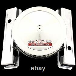 Chrome Factory Height Valve Covers & 327 Emblem Air Cleaner Combo Chevy 327