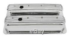 Chrome Finish Finned Center Bolt Tall Valve Covers For 87-97 Chevy Sb 5.0l 5.7l