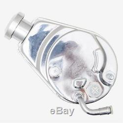 Chrome Power Steering Pump DUAL Pulley Brackets Chevy Saginaw P Pump 305 350 400
