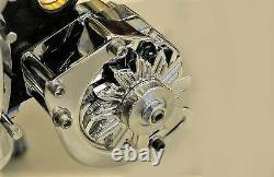 Chrome SB Chevy 283-350 Driver Side Low Mount Alternator Bracket SBC SWP short