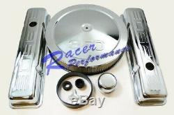 Chrome SB Chevy Dress Up Kit 350 Logo Tall Valve Covers Air cleaner Small Block