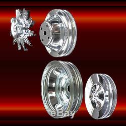 Chrome Small Block Chevy Pulleys Long WP Full Set 283 327 350 383 400