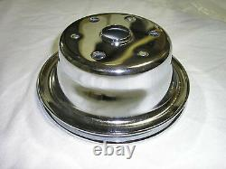 Chrome Steel Small Block Chevy One Single Groove Crankshaft Lower Pulley SBC LWP