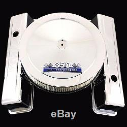 Chrome Tall Valve Covers and Blue 350 Emblem Air Cleaner Combo For Chevy350 SBC