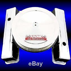 Chrome Valve Covers Tall Height and 327 Emblem Air Cleaner for Chevy 327 SBC