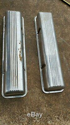Early SBC 265 283 327 Chevrolet Old Chrome Valve Covers Patina 1960s Staggered