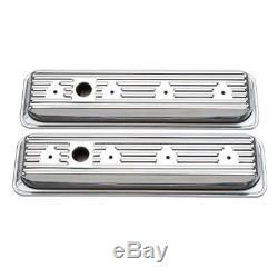 Edelbrock Valve Cover Set 4446 Signature Series Chrome Steel for Chevy SBC