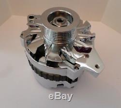 Gm Chrome 120 Amp Cs130 Alternator Serpentine Belt 1 One Wire Chevy Sbc Bbc New
