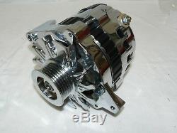 Gm Sbc Bbc Chrome 120 Amp Cs130 Alternator Serpentine Belt 1 One Wire Chevy
