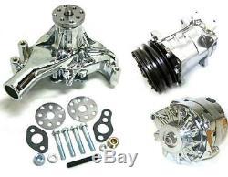 Long Pump Small Block Chevy Chrome Water Pump Alternator V-Belt Compressor Kit