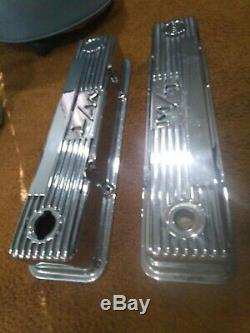 Mickey Thompson POLISHED CHROME valve covers, P/N 140R-50B small block Chevy sbc