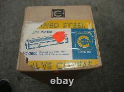 NOS Vintage 1967 Cal Custom Chrome Finned Valve Covers SBC Man Cave Display