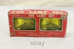 NOS Vintage Car Truck Accessory Glass Amber Lens Chrome Fog Light Lamp Pair