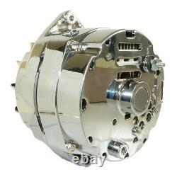 New Alternator Chrome for BBC SBC Chevy 105 Amp 1 Wire High Output ADR0335-C