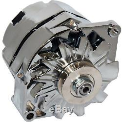 Nuevo Cromo para Chevy GM Sbc BBC 1 Alambre Alternador Alto Salida 200AMP