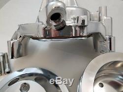 POLISHED SB Chevy SBC Aluminum Long Water Pump & Billet Aluminum Pulley Kit