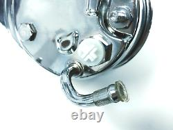 Power Steering Pump With Bracket & Chrome Pulley, Chrome Saginaw, Fits Chevy SBC